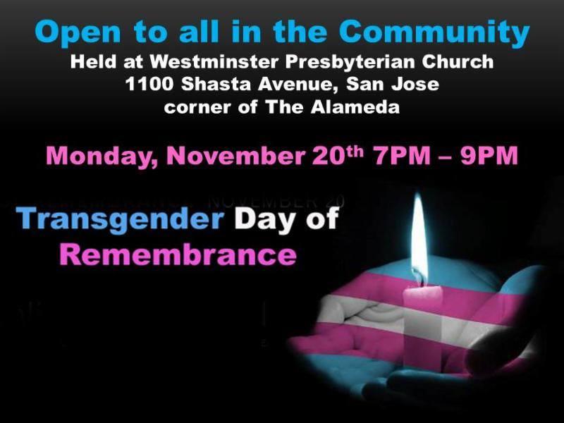 Transgender Day of Remembrance is November 20